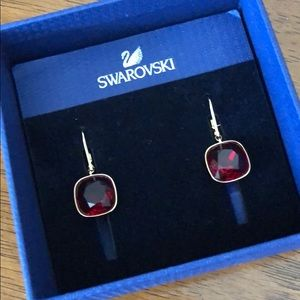 Swarovski red drop crystal earrings